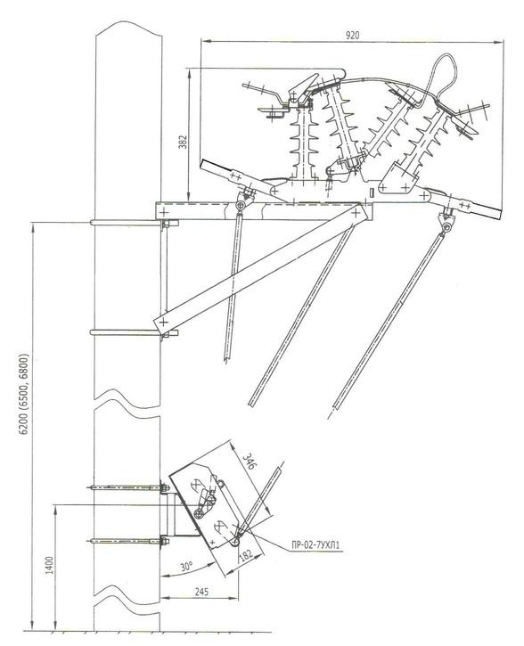 Габаритно-установочные размеры разъединителя РЛК