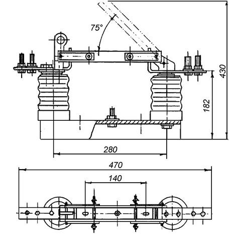 Габаритно-установочные размеры разъединителя РВО-10/400 У3 чертеж