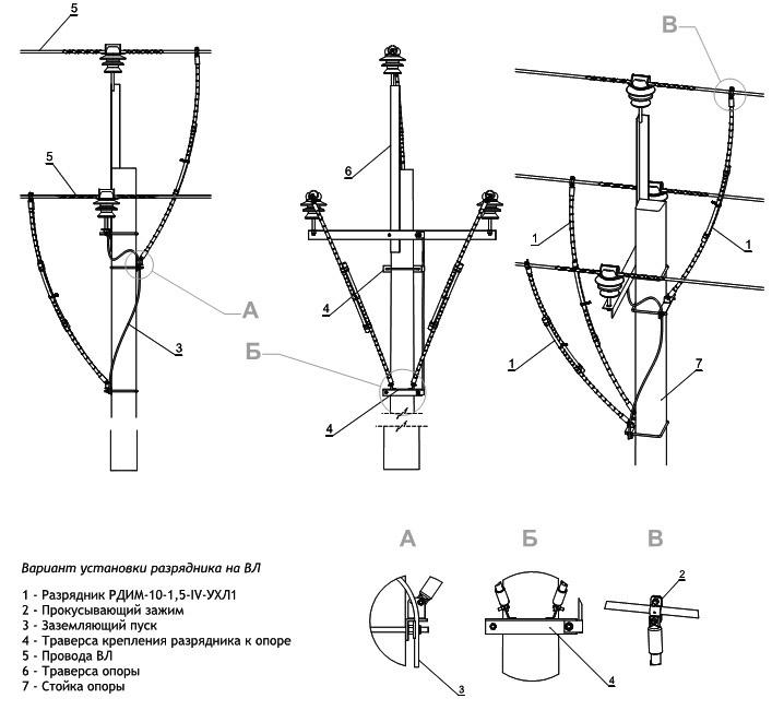 Монтаж разрядников РДИМ-10-1,5-IV-УХЛ1
