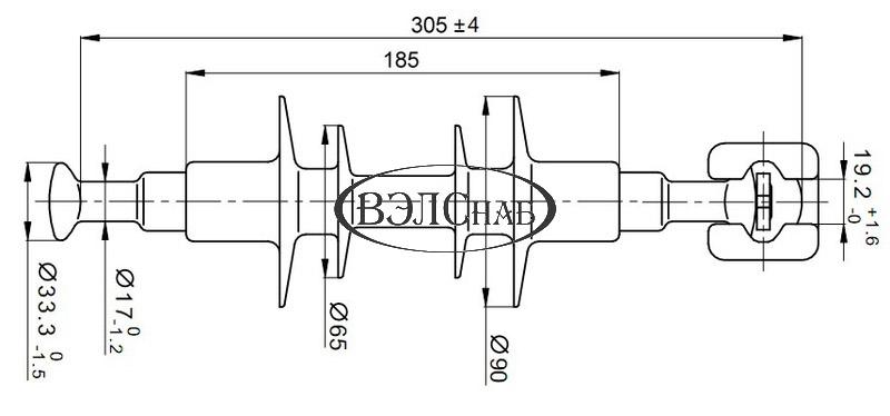 Чертеж и габаритные размеры полимерного изолятора ЛК-70/10-И-3 ГП (ЛК-70/10-В3)