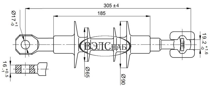 Чертеж и габаритные размеры полимерного изолятора ЛК-70/10-И-3 ГС (ЛК-70/10-Г3)