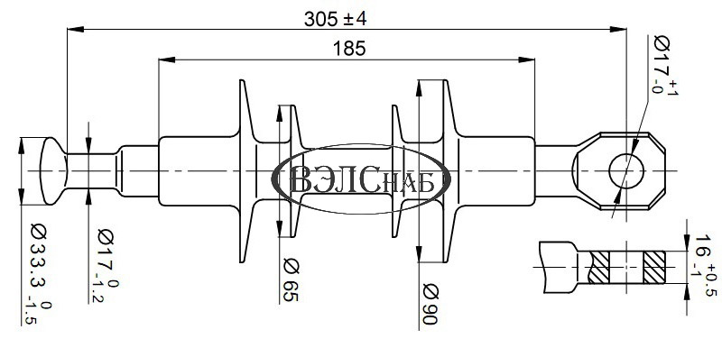 Чертеж и габаритные размеры полимерного изолятора ЛК-70/10-И-3 СП (ЛК-70/10-А3)