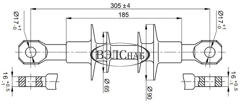 Чертеж и габаритные размеры полимерного изолятора ЛК-70/10-И-3 СС (ЛК-70/10-Б3)
